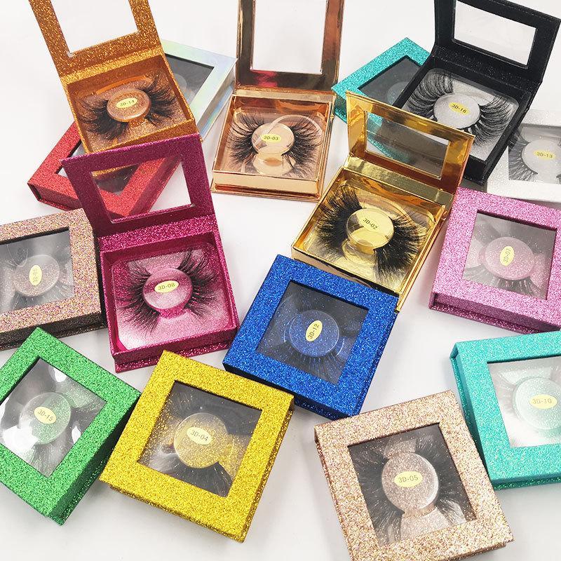 25mm 밍크 속눈썹 가짜 속눈썹 십자가 두꺼운 긴 눈 속눈썹 25 mm 5D 속눈썹 포장 상자가있는 속눈썹 사용자 정의 로고
