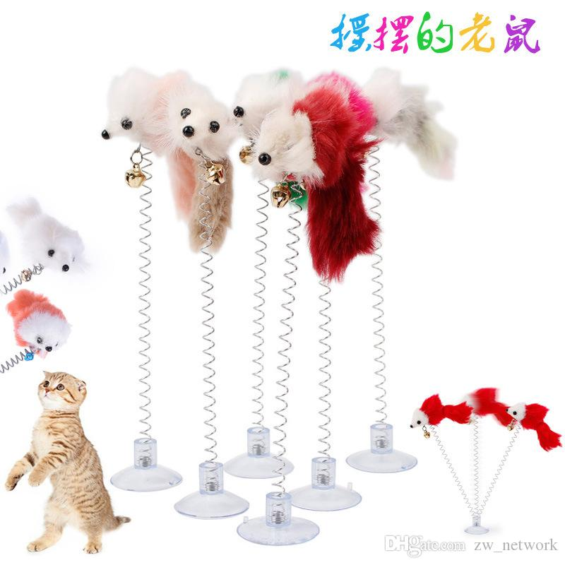 Funny swing spring Mouse con ventosa Furry cat toys colorful Feather Tails Mouse Toys for Cats Piccoli simpatici giocattoli per animali domestici
