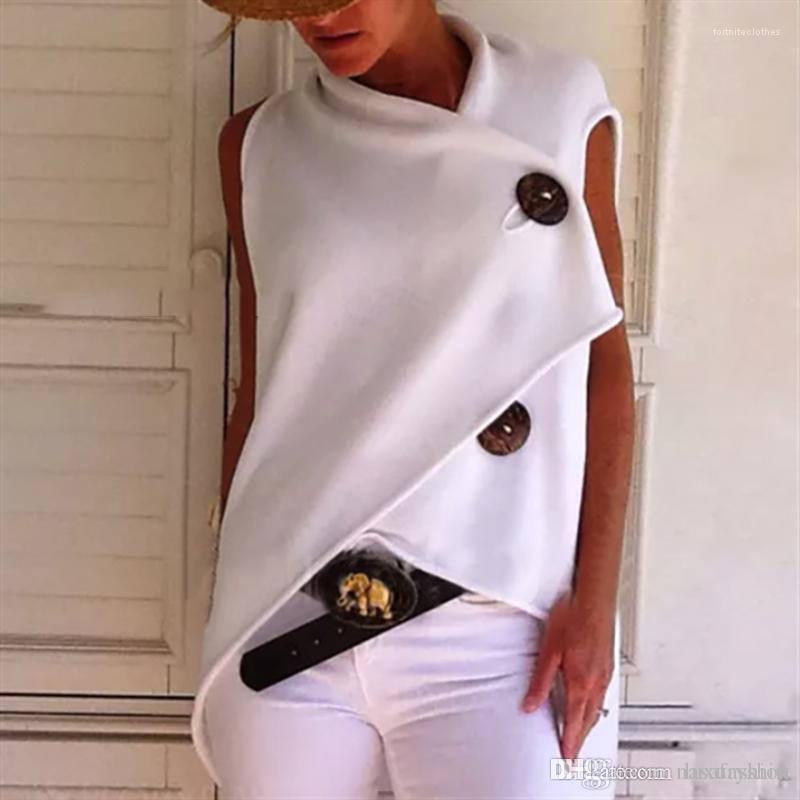 Diseñador para mujer de las camisetas de manga corta de moda para mujer Tops suelta el botón de verano señoras de la moda camisetas Nueva irregular