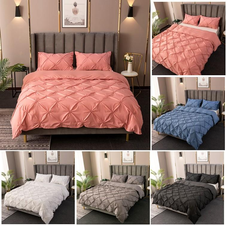 Three-dimensional Embossing Bedding Sets with Zipper Elastic Solid Color Quilt Cover and Pillowcases 3 Pieces Sheet Set( No Filling)