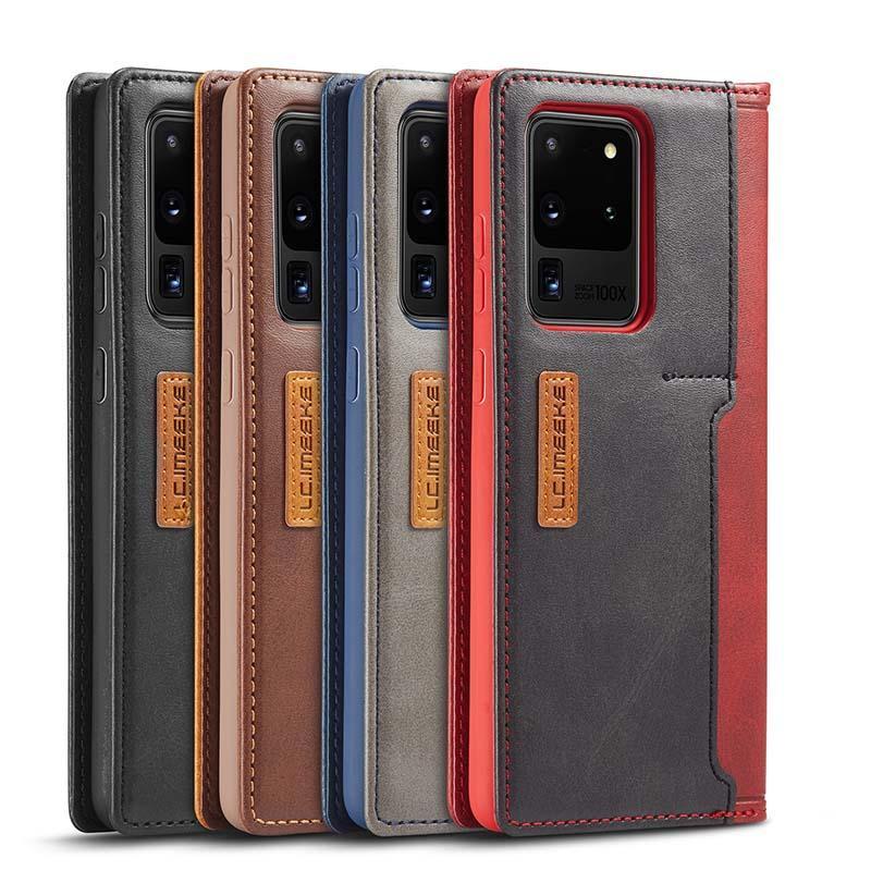 Telefon-Kasten für Samsung S20 Plus Ultra Colour Blocking PU-Leder-Mappen-Kasten-Luxus-rückseitige Abdeckung mit Kreditkartensteckplätzen für iPhone