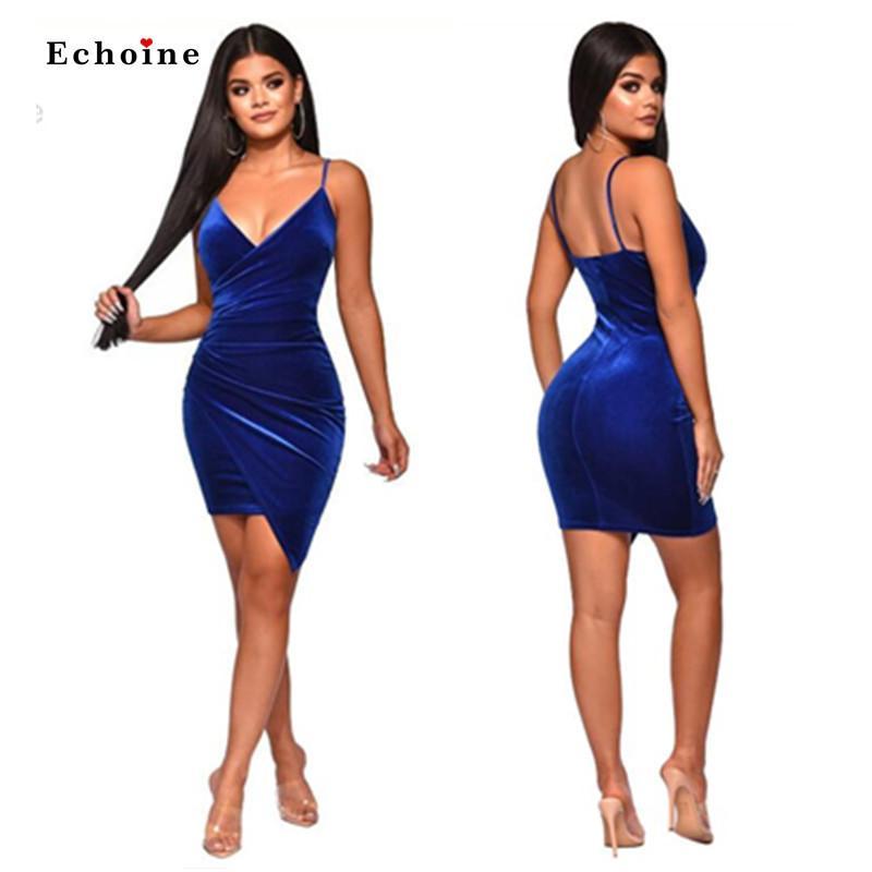 ملابس حفلة إيكوين النساء المخملية المخملية المثيرة Bodycon Backless Backless V-Neck Midi Sheatharity Hemline Blue Ladies Anixy Y200418