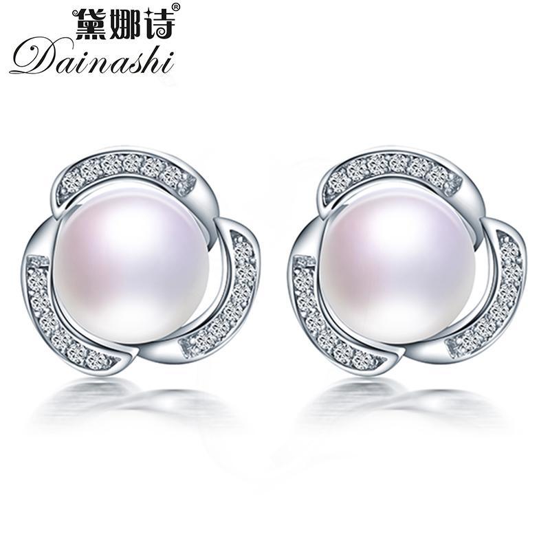 Dainashi 100% de aretes de perlas de agua dulce genuina natural para las mujeres 925 aretes de circonio de plata esterlina joyería fina del molino de viento