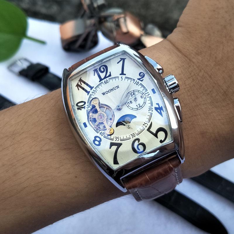 La moda masculina hombres de los relojes mecánicos automáticos de los relojes capota fase de la luna homme Montre impermeable