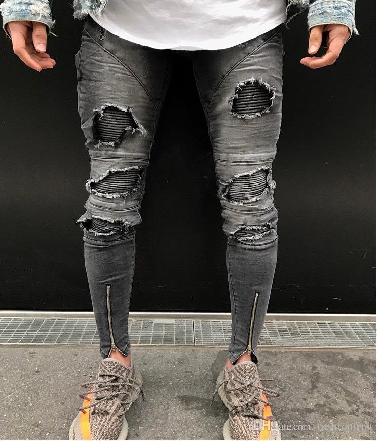Compre Los Hombres De Moda Desgastaron Los Pantalones Vaqueros Rasgados Mejores Pantalones De Mezclilla Pantalones Ajustados Pantalones De Mezclilla Pantalones Vaqueros Del Hombre De Mezclilla A 27 93 Del Fashionfirst Dhgate Com