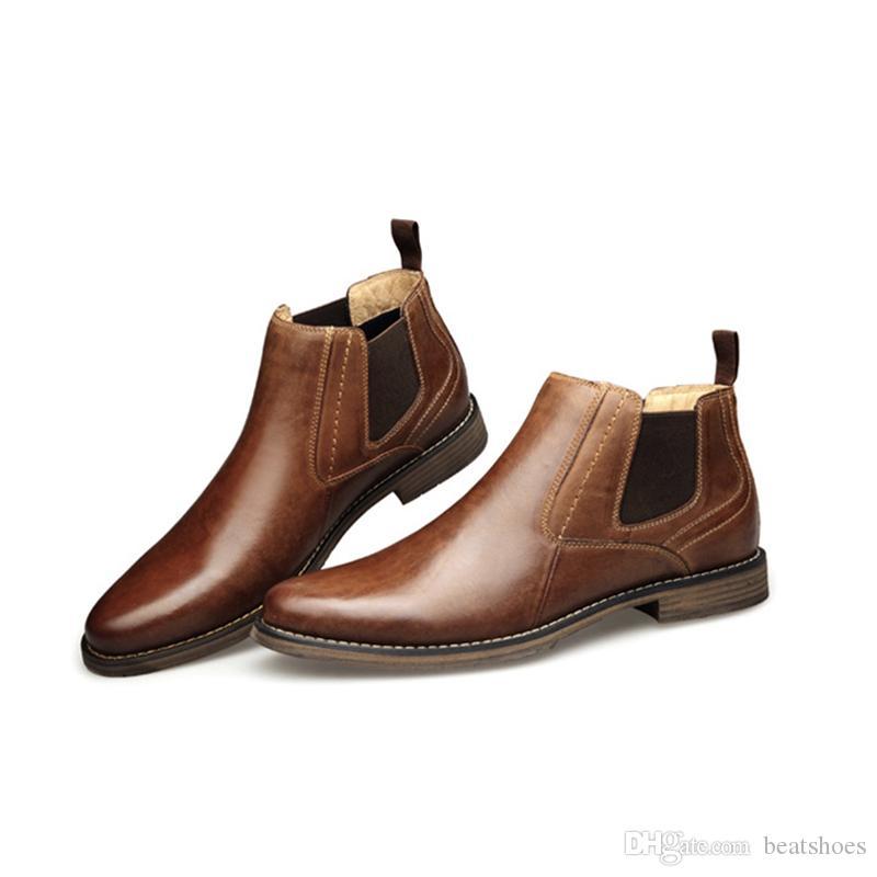 New Herren Martin Booties Leder britischen Ankle Boots Designer Echtes Leder Herren Business Schuhe Freizeitschuhe Gentleman Work Party Hochzeit