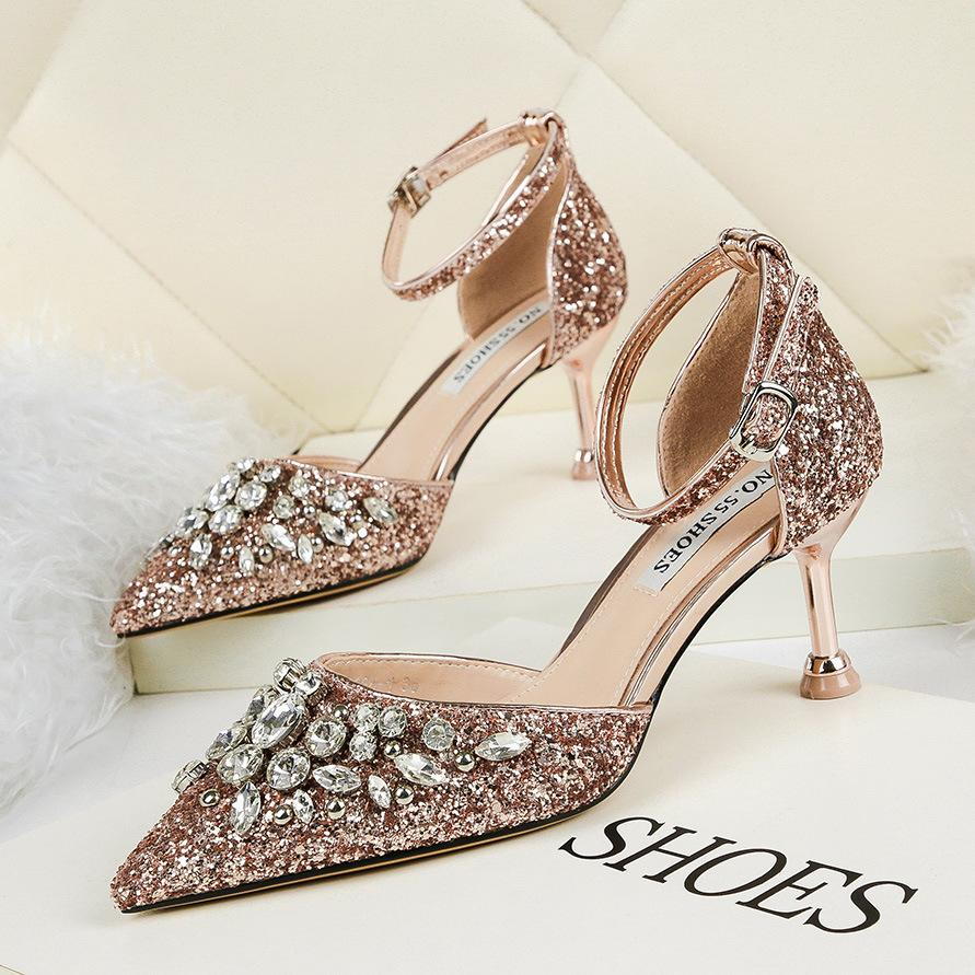 Luxury beaded sequins pumps office lady single shoes 6.5cm thin heels pointed toe wedding shoes sexy ankle strap 9266-1