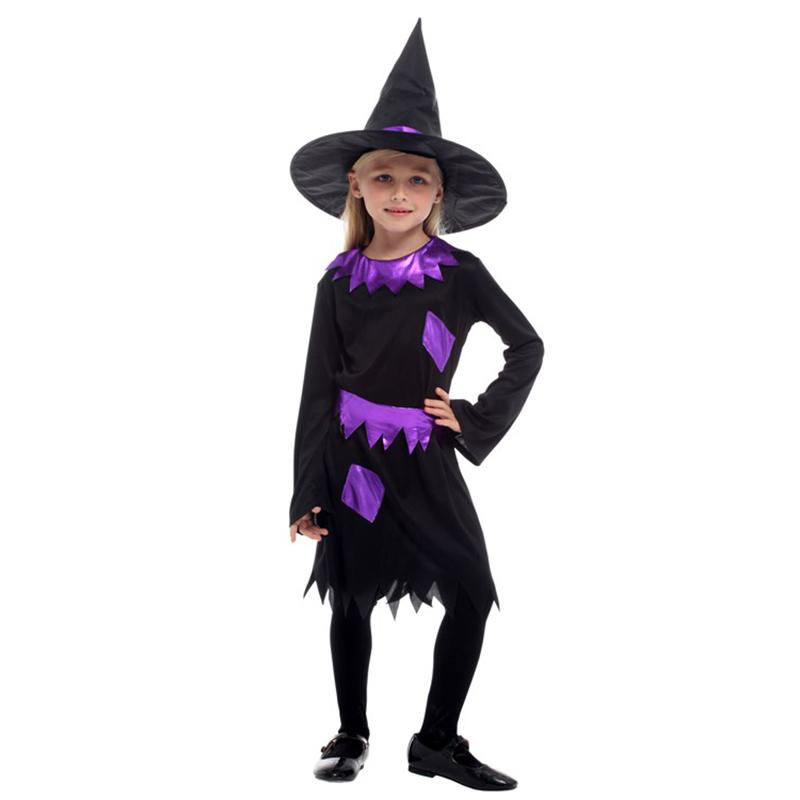 Huihonshe Hot Selling Halloween Costume For Children Witch Costume Girl Dress Hat Fantasia Carnival Party Kid Christmas Office Themes For Halloween Group Family Costumes From Crutchline 19 4 Dhgate Com