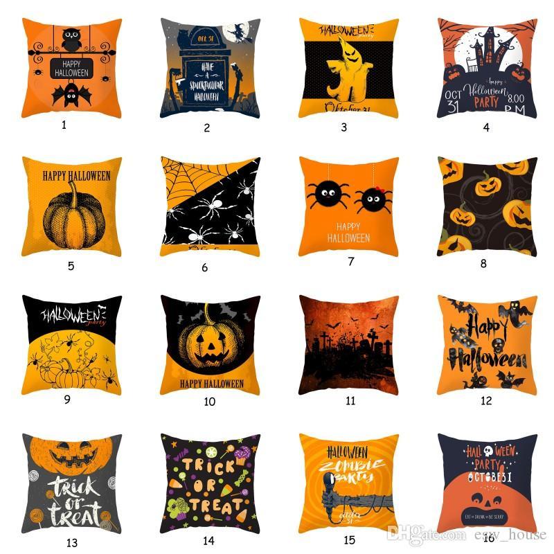 Ropa de Halloween Calabaza de almohada cubierta de almohada cojín del sofá Cubierta geométrica anaranjada decorativa Throw almohada de asiento de coche cubierta de almohadas