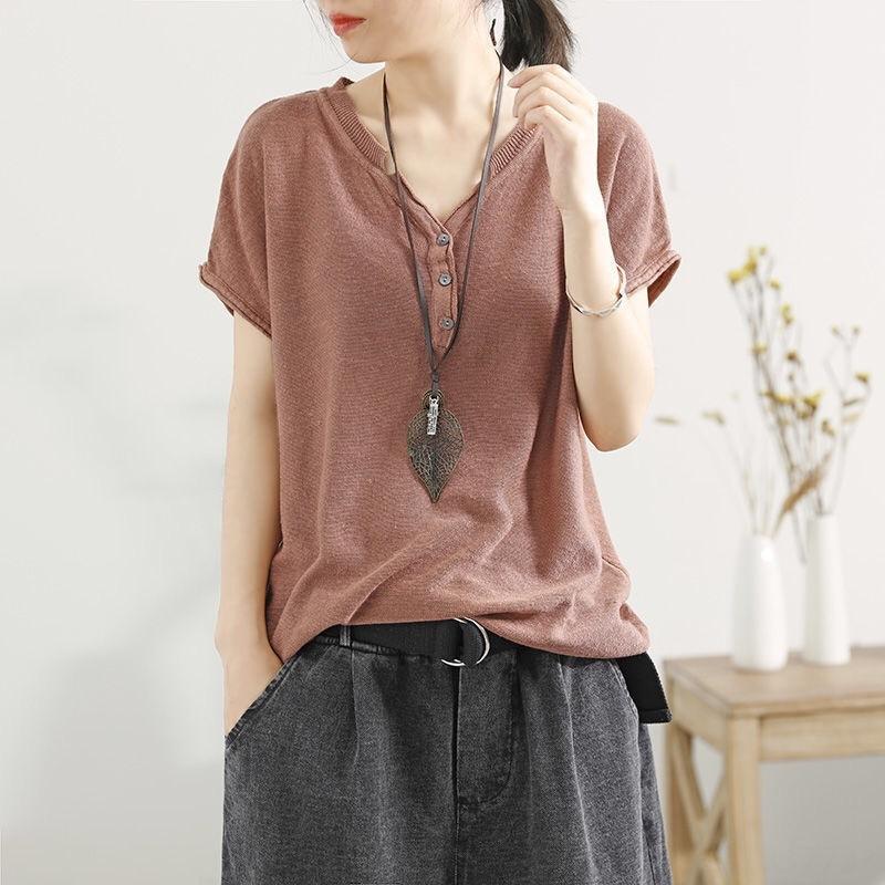 coton artistique et lin tricot à manches courtes T- vêtements féminins T-shirt chemise de base 2019 en vrac vêtements demi-manches