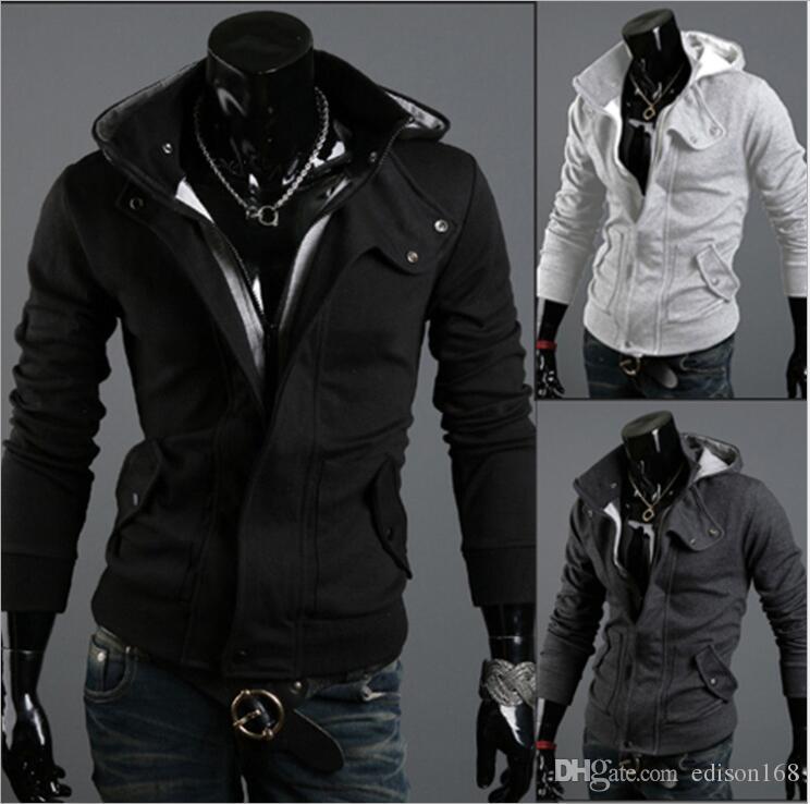 新しいファッションメンズカジュアルフード付きカーディガンジャケットコート男の上着服212ブラックダークグレーライトグレー