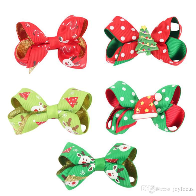 3 inch Hair Bow Christmas pattern design With Clips mixed colors girls Hairpins kids party hair clipper