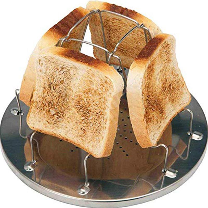 1 Adet Basit Taşınabilir Paslanmaz Çelik Tost 2020 Açık Kamp Tost Katlama Taşınabilir Izgara Çok Amaçlı Soba Grill Raf