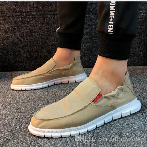 Bere ayakkabı bahar kanvas eğilim tembel vahşi bir pedal moda erkek ayakkabıları rahat nefes ayakkabı yumuşak alt