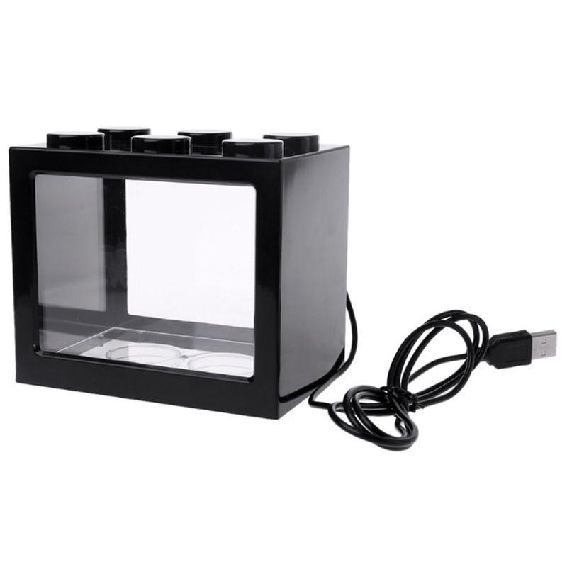 Mini Aquarium LED USB Luz Lâmpada Fish Tank Home Office Tea Tabela Decoração Edifício Small Block Fish Tank-Black