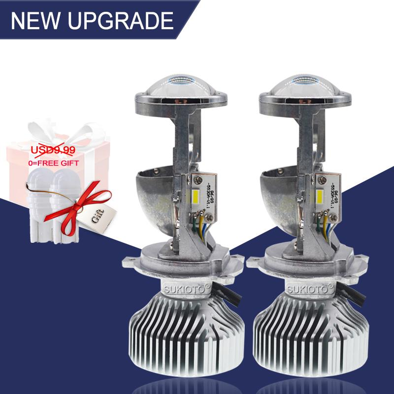 SUKIOTO 35W / 70W H4 LED Farol Projector lente Bulb LHD H4 Hi / Lo bixenon Mini projetor lâmpada de 1,5 polegadas 5500K Car Styling