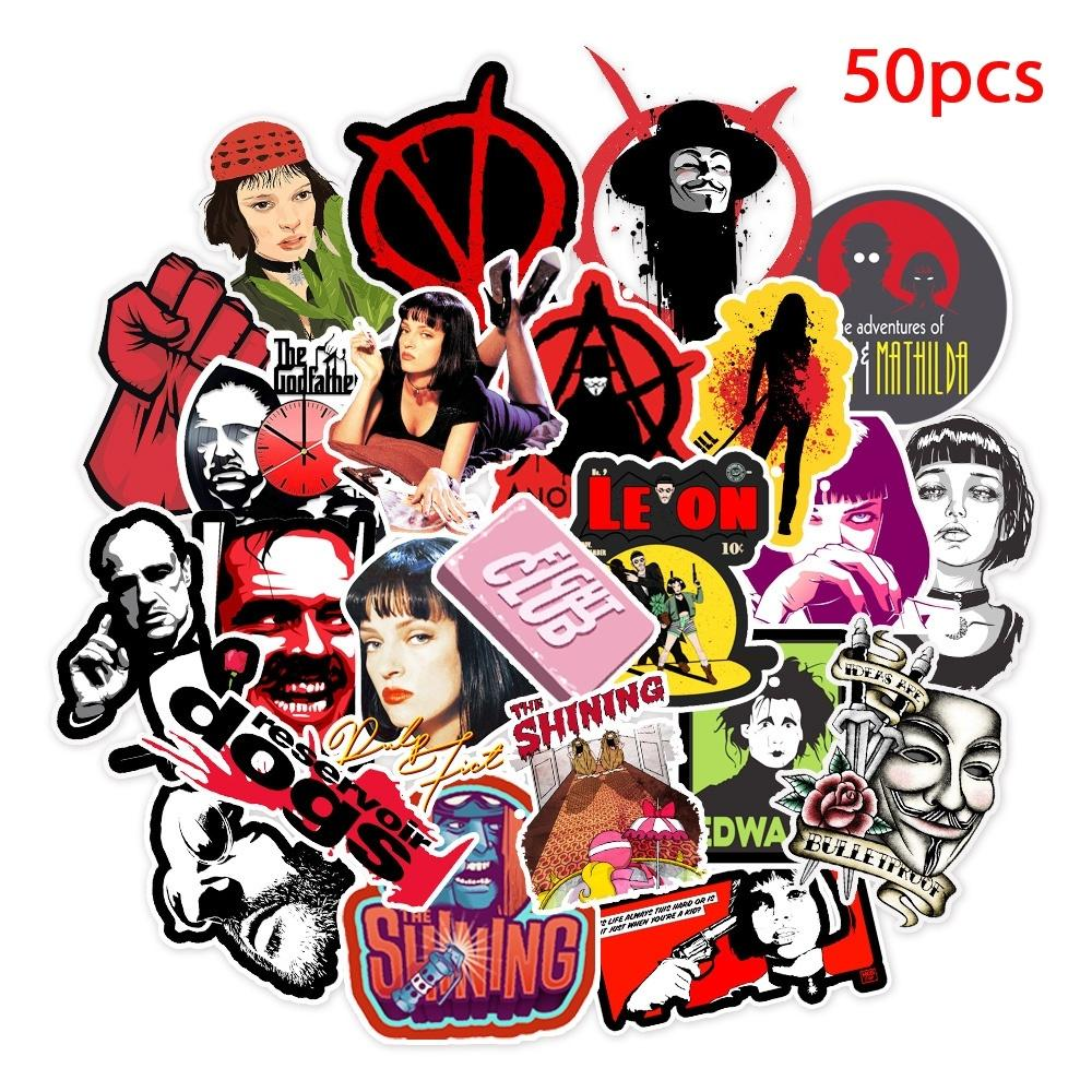 50 unids / lote pegatinas Classic Movie Pulp Fiction / Edward Scissorhands / Pegatina de graffiti para skateboard Portátil Bicycle Bicycle Permiso de calcomanías