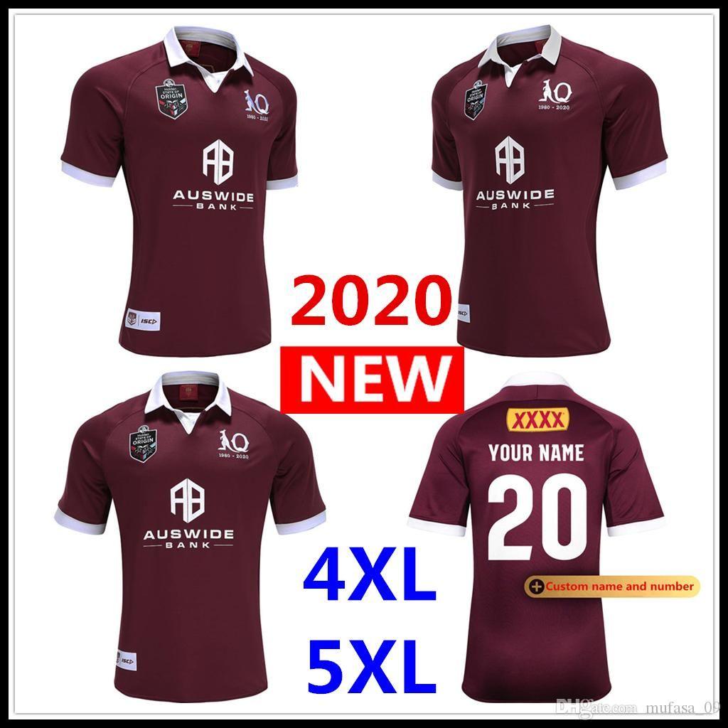 Özel ad ve numara 2020 yeni Maroons RUGBY JERSEY Avustralya Queensland QLD ragbi Formalar Maroons Jersey Rugby Ligi gömlek S-5XL