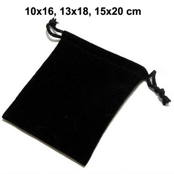 50pcs / lot 10x16, 13x18, 15x20 cm Schwarz / Blau / Rot Kordelzug Beutel Samt Taschen für Schmuck Weihnachten Verpackung Beutel Geschenk-Beutel
