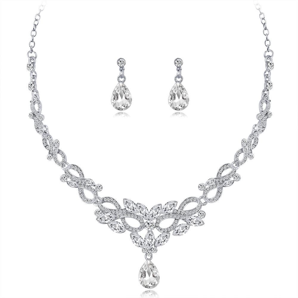 hair accessories for women hot bride necklace jewelry High-grade alloy jewelry two-piece crystal necklace earrings wedding accessories