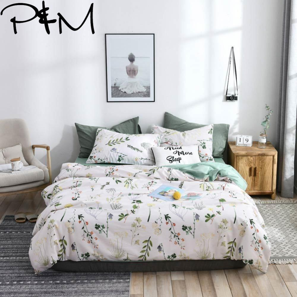 Papa&Mima Branches and flower print bedding sets Cotton bedlinens Twin Queen King size flat sheet pillowcases duvet cover sets T200415