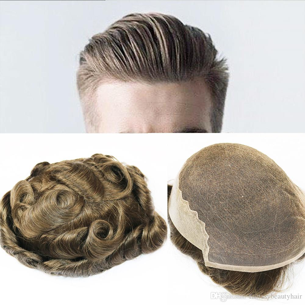 Q6 Base Men Toupee Swiss Lace with Skin Toupee Various Color Remy Human Hair Mens Hairpieces Replacement System Wigs