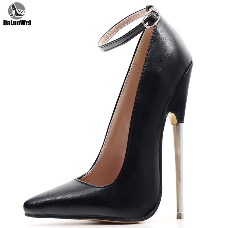 الكعوب صنم النساء مضخات 18CM 7INCH الخنجر شارب تو الكاحل التفاف سبايك المعدنية ارتفاع كعب عبودية BDSM المطاط أحذية Y200702