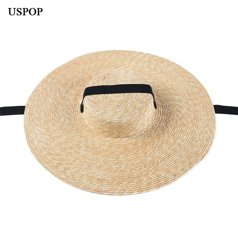 USPOP summer hats women sun french style wide brim casual natural wheat straw lace-up beach hat shade T200602
