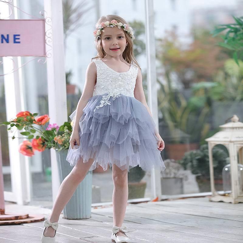 Filles dentelle d'été au détail robe Gaze enfants princesse robes pour fille veste robe de soirée robe Vêtements de bébé E16900 MX190724