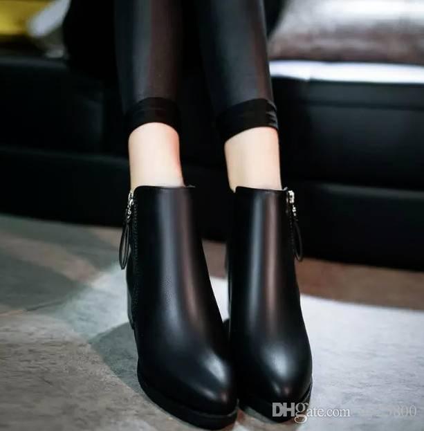 New Outono Inverno Mulher sapatos Feminino laterais com zíper dedo apontado botas de tornozelo mulheres Moda Martin Vintage botas 75jki