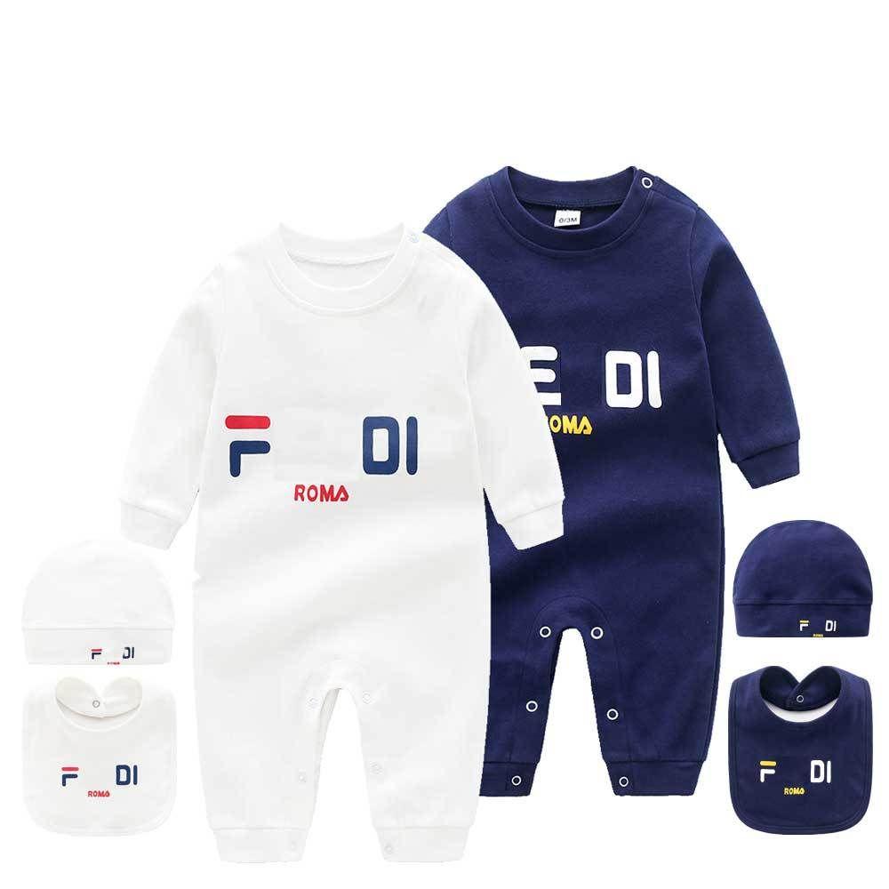 Infantis 3 pcs definir Hat Bib Jumpsuit crianças Designer Roupa para meninas Meninos Marca F carta Roupa recém-nascido Fd Rompers criança roupas de grife