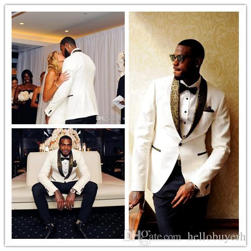 Handsome White Wedding Tuxedos Slim Fit Gold Pattern Laple Suits For Men Cheap One Button Groom Suit Only The Jacket And Handkerchief