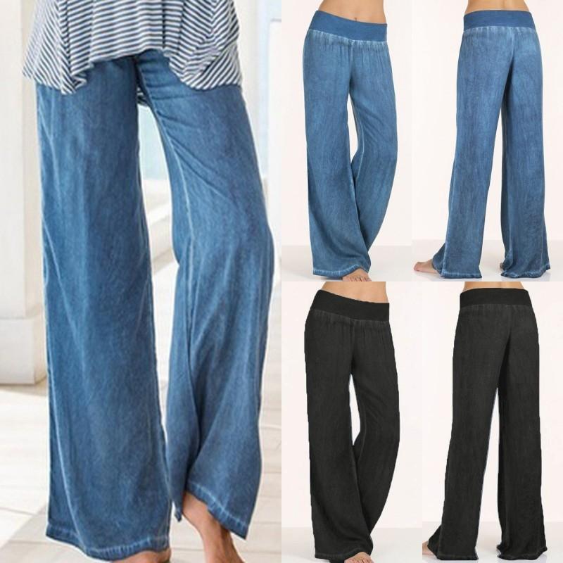 Yeni örme kadınlar geniş bacak pantolon yüksek bel tam boy pantolon kadın Yüksek Bel Uzun Pantolon Pantolon Artı boyutu 5XL