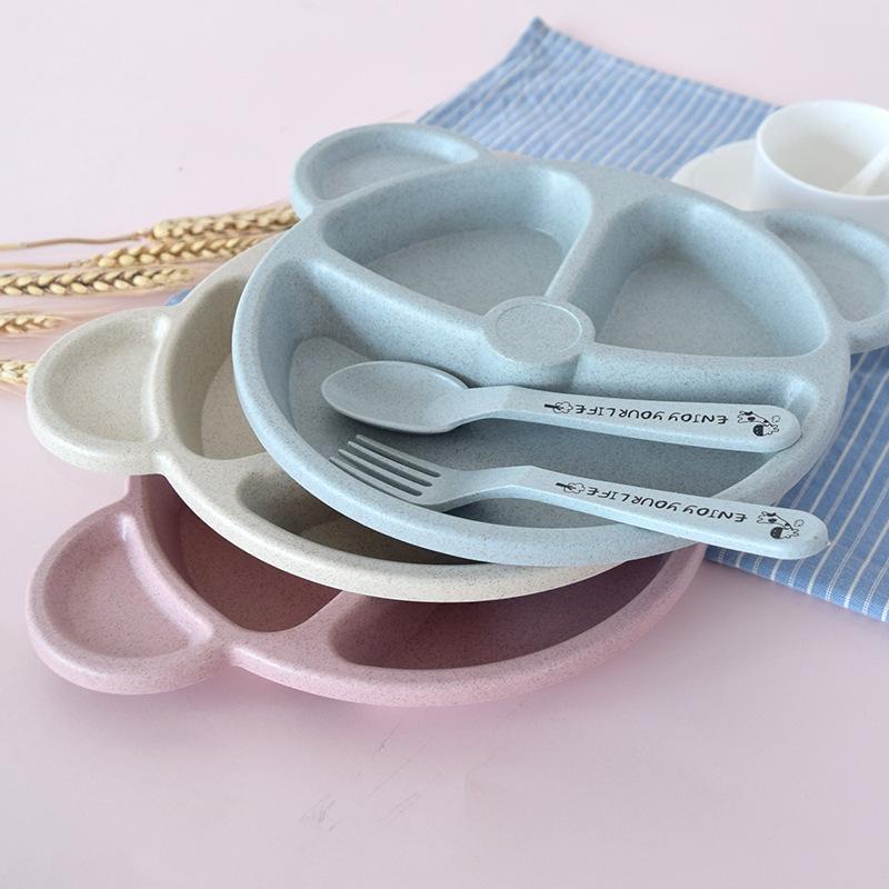 3 pièces Ens enfants de vaisselle de bande dessinée de paille de blé bébé dinnerware plaque mignon de bébé des plats fixes d'ours mignon