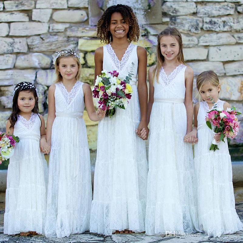 Boho Lace Flower Girls Dresses White V neck Weddings Juniors Bridesmaids Dresses Cheap Long Girl Summer Dresses Toddler Gowns custom made 89