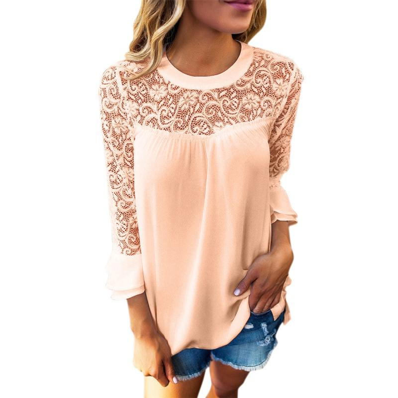 Best! Sweet Women Lace Stitching Hollowed Casual T-Shirts Loose Seven Sleeves Chiffon Tops