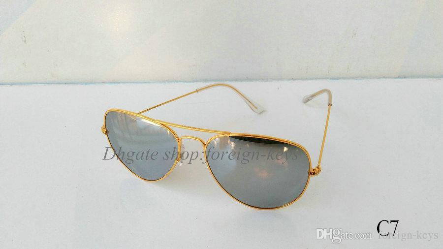 Schneller Versand Verkauf Klassische Sonnenbrillen Legierung Rahmen Frauen und Männer Glaslinsen Mit Den Braunen Fällen.