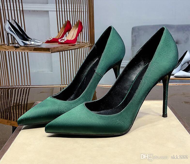 Дизайнер роскошь женщина черновато зеленый Насосы платье обувь Slip-On знаменитость высоких каблуков Твердых носков сексуальных шпильки ботинок партии с коробкой
