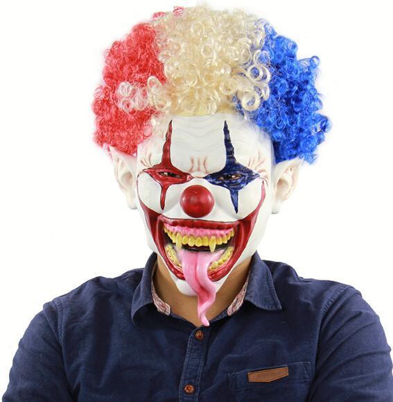 Máscara de payaso aterrador Máscara de silicona Máscara de Halloween para fiesta Máscara Carnaval Cabeza explosiva Boca grande Lengua larga
