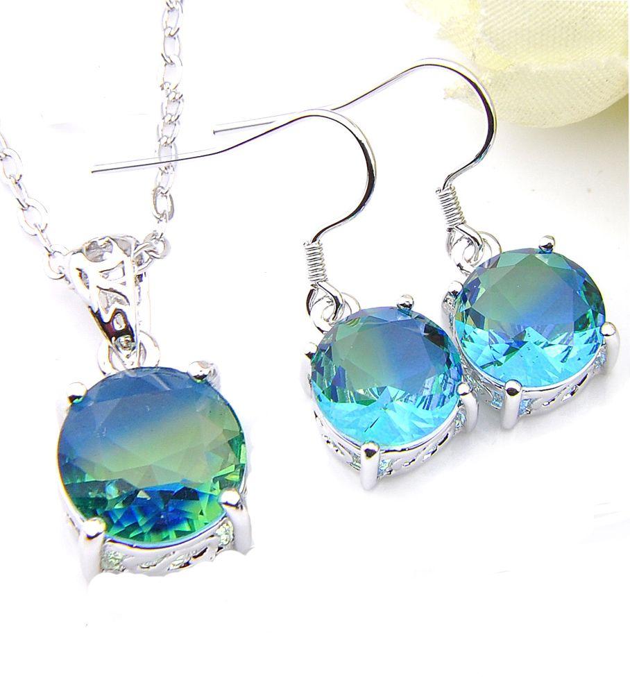 925 Silver Plated Gemstone Jewelry Brand New Earrings /& Pendant SET