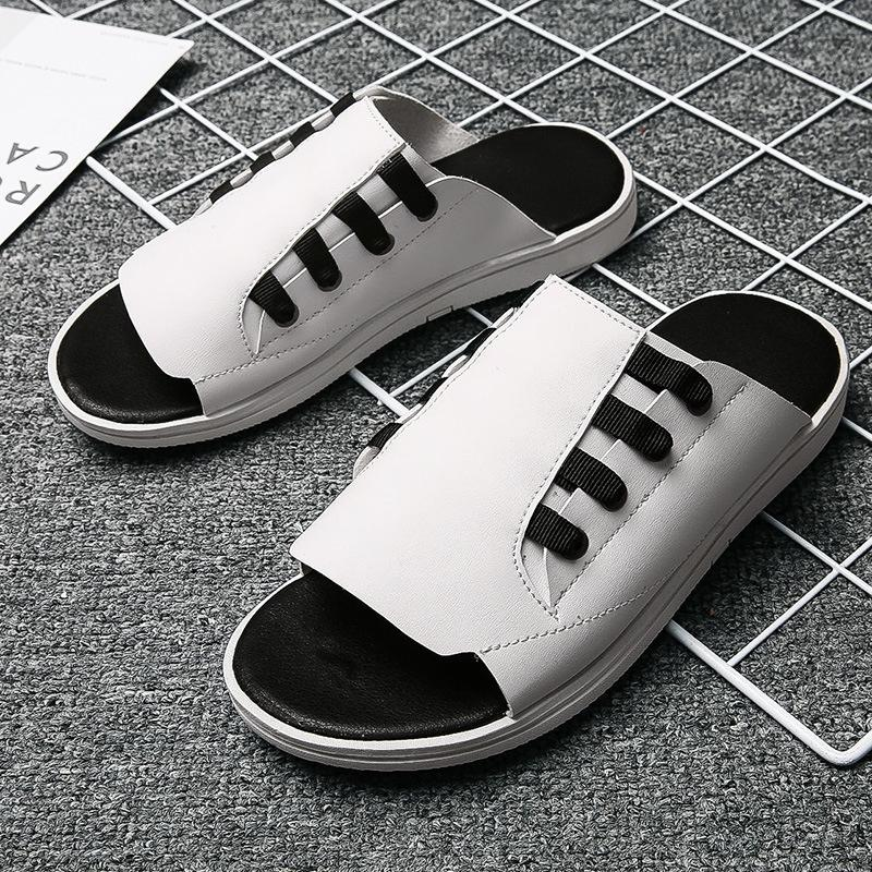 2019 Summer Trend Slipper Men's Sandals Fashion Sandals-Style Leather Anti-slip Wear-Resistant Korean-style Slippers