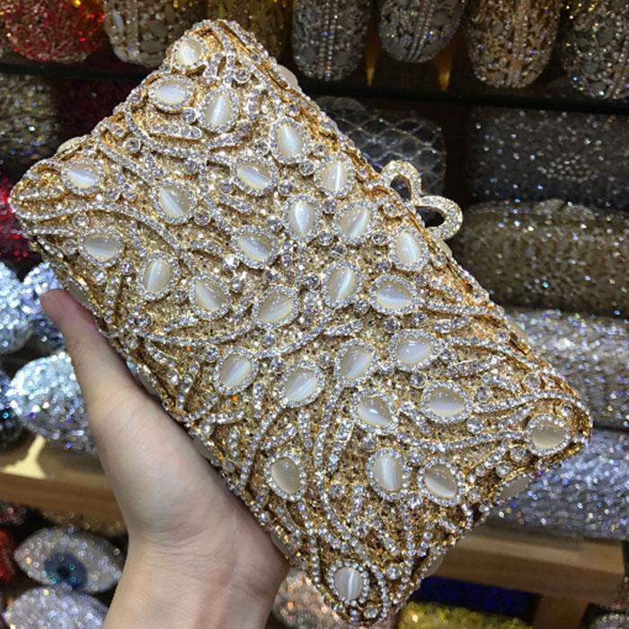 giada oro di cristallo di sera della frizione della borsa per le donne festa di nozze del cocktail d'argento borsa Fiore metallo tracolla