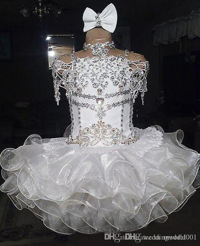 White lace beaded halter short sleeve bow organza ball gown cupcake toddler little girls pageant dresses flower girls for weddings glitz