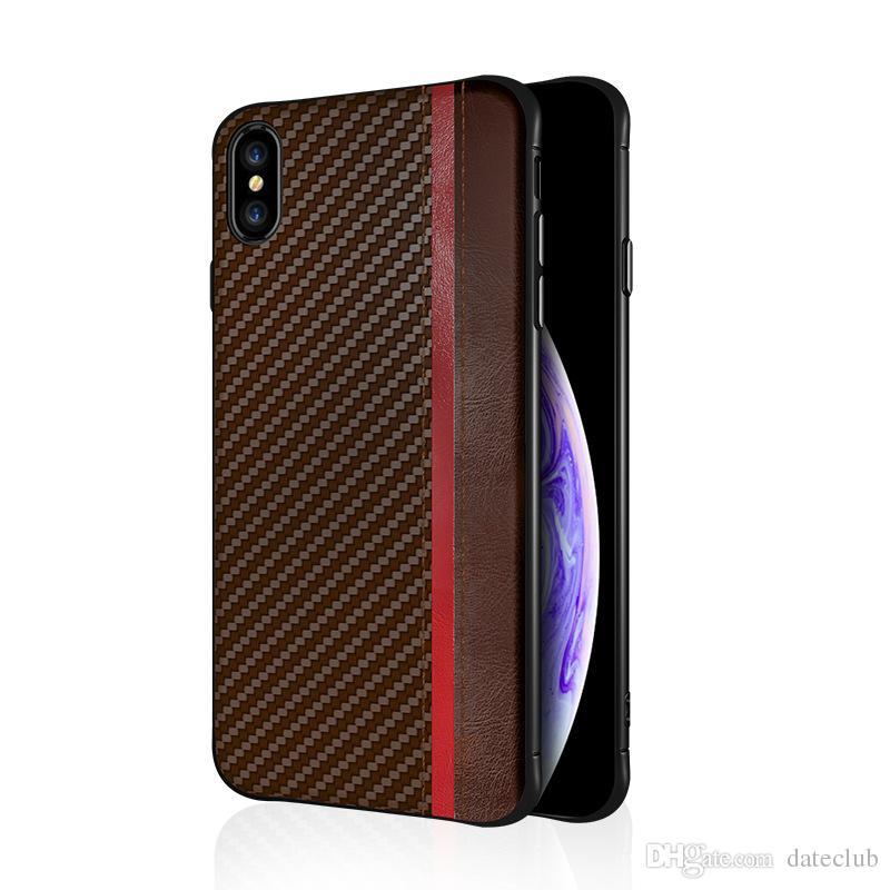 아이폰 XR XS MAX X 8 7 6S 플러스 휴대 전화 케이스 탄소 섬유 가죽 질감 케이스 커버 삼성 갤럭시 S8 S9 S10 플러스 럭셔리