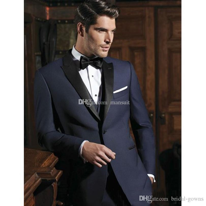 Новое прибытие Groomsmen Пик нагрудной Groom Tuxedos синей Мужские костюмы Свадебная / Prom Best Man Blazer / (куртка Жених + брюки + жилет + Tie) M730