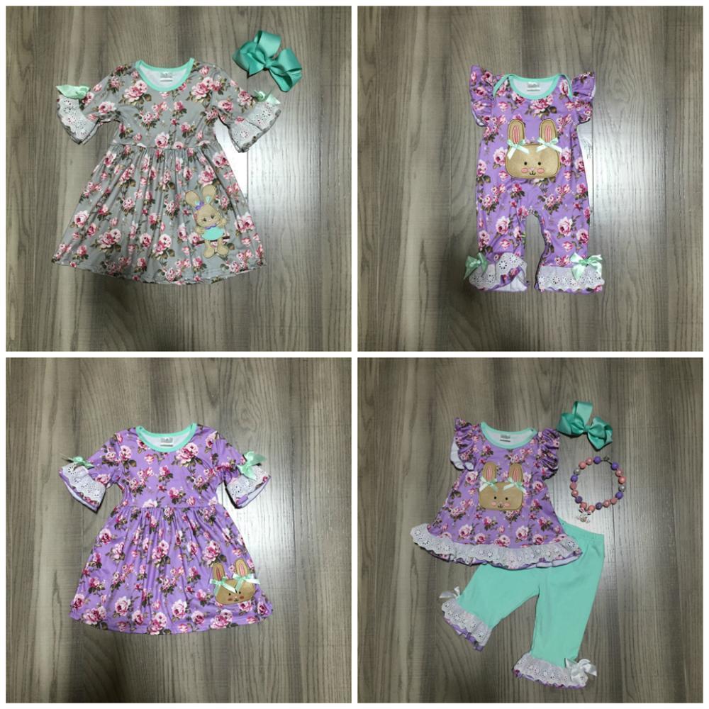 sring / été bébé Pâques filles enfants robe de soie lait de vêtements de barboteuse lapin manches courtes longueur genou accessoires match Y200325