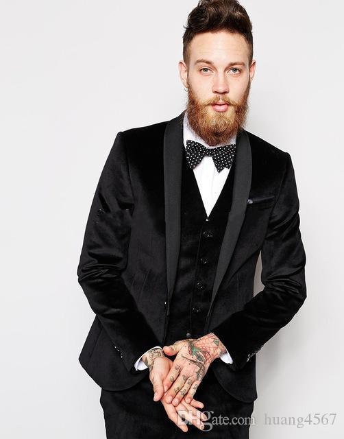 새로운 슬림 맞는 원 버튼 블랙 벨벳 웨딩 신랑 턱시도 어깨 걸이 옷깃 Groomsmen 남성 복장 댄스 파티 재킷 (자켓 + 바지 + 조끼 + 넥타이) 182