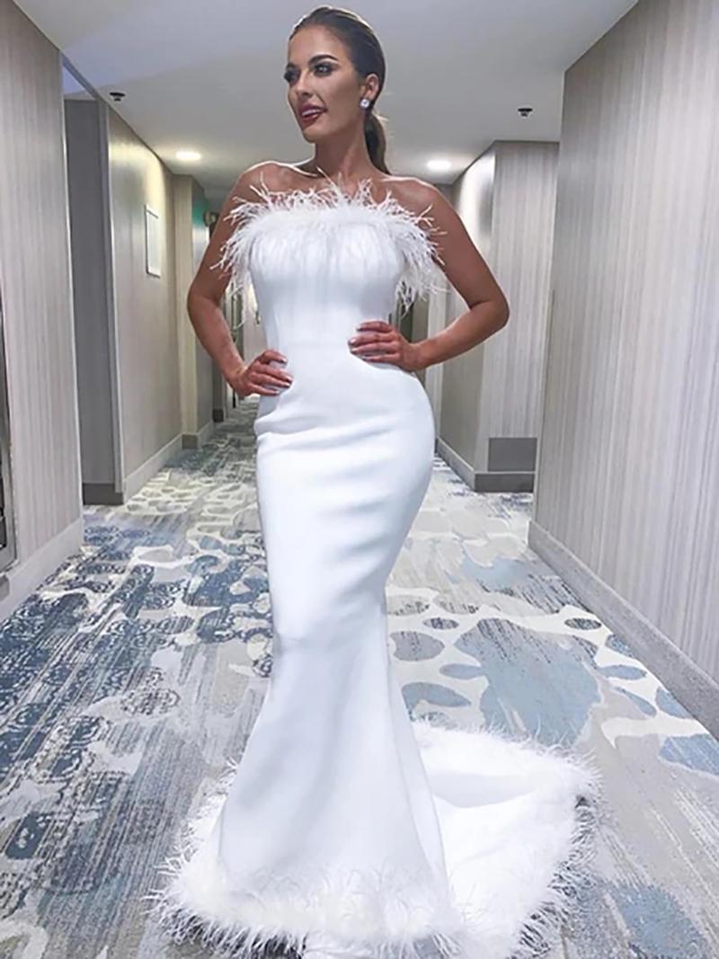 Romantische Feder Mermaid Brautkleider Backless Brautkleider 2020 elegante einfache Braut-Kleid-Weinlese Vestidos De Noiva