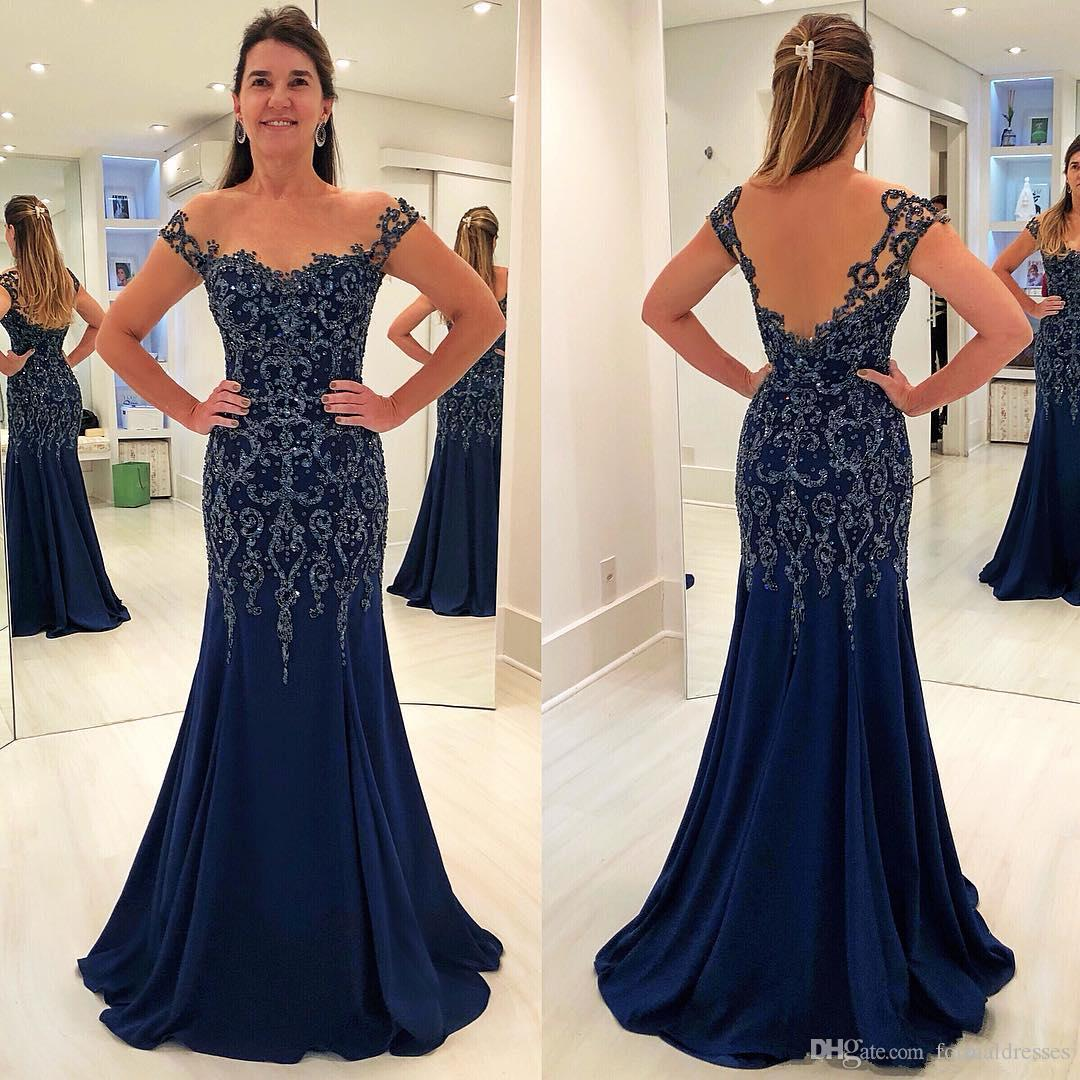 Navy Blue Mermaid Formal Evening Gown 2019 Sheer Neck Lace Applique Beads Floor Length Women Prom Party Wear Plus Size Mother's Dresses