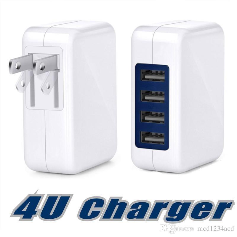 3.1A 15W rápido da velocidade do 4 carregador de parede porto da UE US AC Início USB portátil Travel Charger Power Adapter Para Samsung iphone 7 8 x telefone android